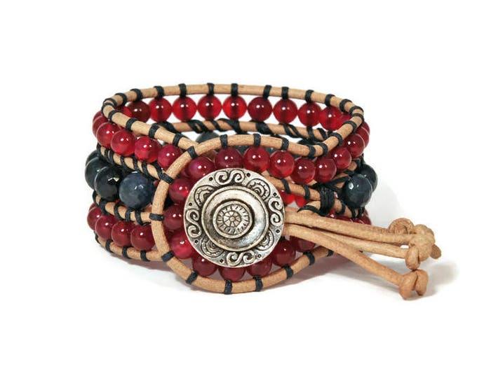Boho Vilma * Sodalite & Agate Ruby. 3 strand Wrap Bracelet. Boho Style. Bohemian Jewelry. Semiprecious stones. Gift for her. Cuff Bracelet.