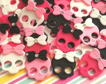 5pcs- 26mm decoden skull cabochon skeleton mixed colors pink black rhinestones resin flatback phone case supply kawaii jewelry embellishment