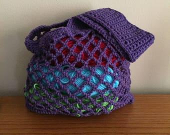Beach Bag, Market Bag, Crochet, Reusable Grocery Bag, Mesh Tote, Purple, Hippie, Boho, Festival, Tote Purse, Crochet Market Bag, Vegan Reuse