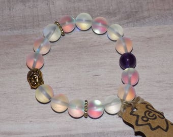Opal Quartz Elastic Bracelet with Gold Tone Spacers and Buddha Charm