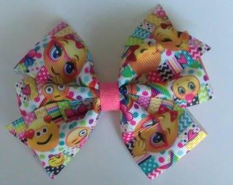 Character hair bow, Emoji hair bow, Emotions hair bow,  hair bow, toddler hair bow, teen hair bow, nerd hair bow, baby hair bow
