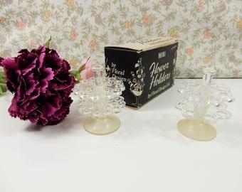 Vintage Flower Holder, Mini Floral Arrangement Container, Clear Suction Holders