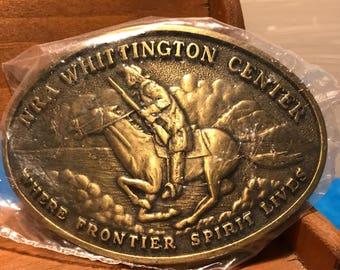 NRA Vintage Brass Belt Buckle ~ NRA Whittington Center Belt Buckle