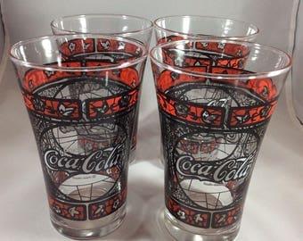 Set of 4 Vintage Coca Cola Glasses ~ Stained Glass Style Coke Glasses ~ 1970's Coca Cola