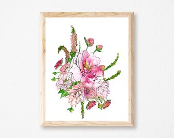 Rosy Watercolor Floral Botanical Painting Print