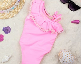Pink swimsuit,Two pieces,One piece swimsuit,Baby girl swimwear,Toddler swimsuit,Baby bikini,Toddler bikini,One shoulder suit