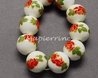 ORANGE 10 ceramic beads, round porcelain flower 1 cm