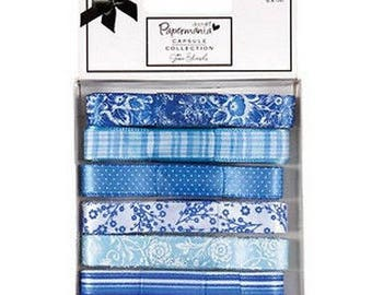 two pockets 6 differents shades Blue 1 cm Ribbon 6 m