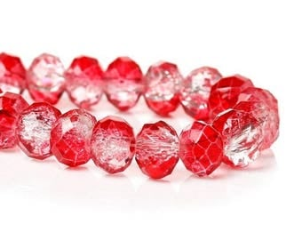 10 glass Crackle 8 mm Red Crystal faceted beads