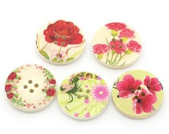 5 round wooden buttons sewing, children, 3 cm flowers scrapbooking