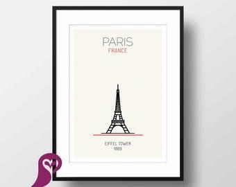 Eiffel Tower Poster   Paris   France   Buildings   Architecture   Wall Art   Wall Decor   Home Decor   Office Decor   Poster   Digital Print