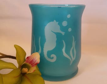 Beachy Sea Horse Vase/Candle Holder