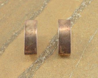 Pointed Square Edge Hinged Hoop Earrings Sterling Silver 10.3g