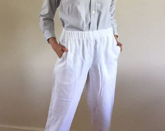 Vintage 90s White 100% Linen High Waisted Cropped Elastic Waist Beach Pants / Linen Easy Pants