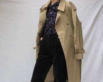 80s Double Breasted Belted Trench with Plaid Lining | unisex M