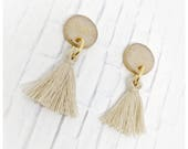 Gold tassel earrings drop earrings nickel free earrings college student gift for her lightweight earrings polymer clay earrings cream gold