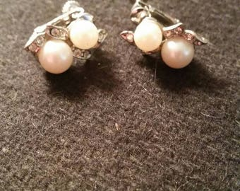 Vintage Rhinestone and Pearl earrings.