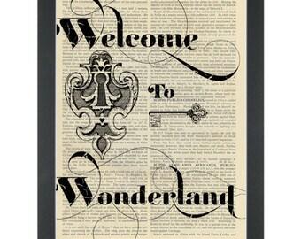 Alice in wonderland quote Welcome to Wonderland bedroom Dictionary Art Print
