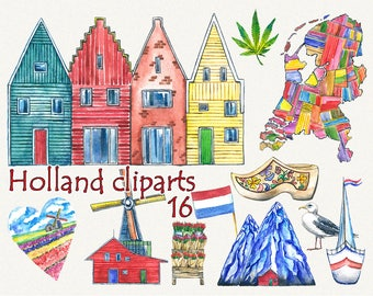City clipart, house clipart, Holland clipart, Amsterdam clipart, Netherlands clipart, Watercolor, Digital DIY invites, Hand Painted clip art