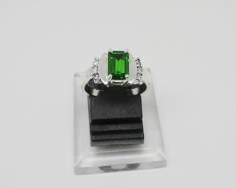 Natural Chrome Tourmaline Silver Ring + Certificate of Genuine Gemstone
