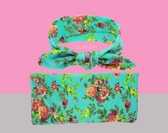 Swaddle Blanket Floral Swaddle Teal Swaddle Set with Purple Flowers Headband