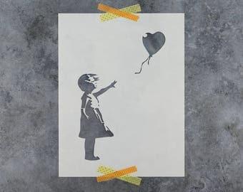 Girl with a Balloon Banksy Stencil - Reusable DIY Craft Stencils of Girl with Balloon by Banksy