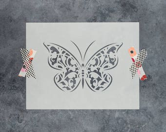 Butterfly Gothic Stencil - Reusable DIY Craft Stencils of a Gothic-Style Butterfly