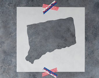 Connecticut State Stencil - Hand Drawn Reusable Mylar Stencil Template