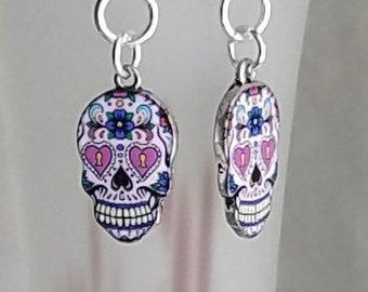Dia De Los Muertos, day of the dead,  sugar skulls earrings.