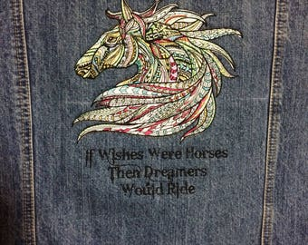 Denim jacket. Embroidered horse size large