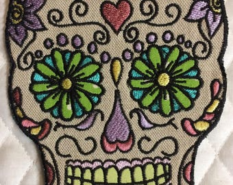 Sugar Skull Applique Patch iron on