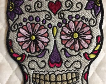 Sugar Skull Embroidered patch iron on