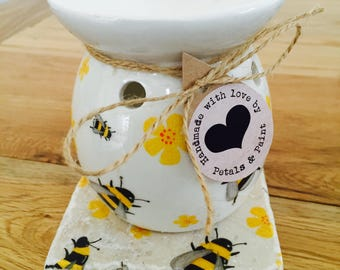 Handmade Honey Bee Wax Oil Burner with Matching Natural Stone Stand