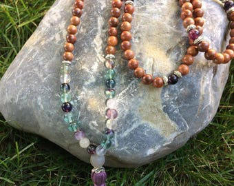 Sandalwood and Fluorite Necklace