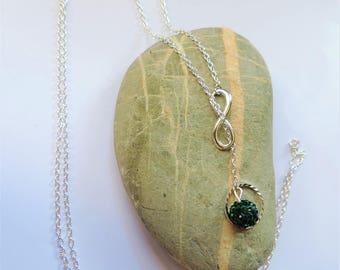Emerald Green shamballas beads necklace slide infinity ღ ღ