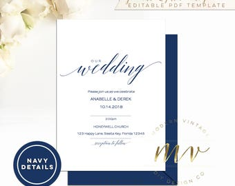 Navy Calligraphy Wedding Invitation template - 5x7 - editable template - Modern Vintage DIY A083