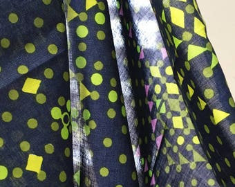 1960s 1970s Vintage Fabric / By the Metre / Geometric / Pattern / Patterned / Blue, Green, Yellow,  Pink / Dressmaking Material