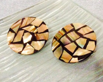 Vintage Abalone Clip on Earrings