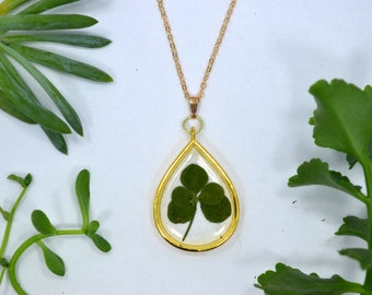 "Genuine 5 Leaf Clover Teardrop Necklace [AC 016] /Rose Gold Tone 18"" Necklace / White Clover Pendant/Triforium Repens/Good Luck Charm"