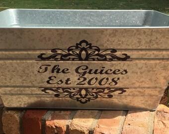 Custom rectangular galvanized tub