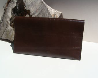 Leather handbag checkbook brown leather for checkbook holder