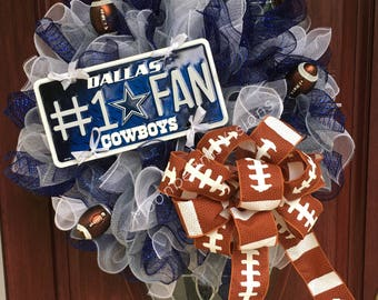 Dallas Cowboys Wreath, Dallas Cowboys decor, NFL wreath, football wreath, NFL decor, Dallas Cowboys fan, door decor, door arrangement,