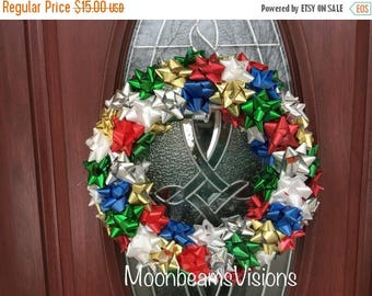 25% OFF Multicolored Christmas Bow Wreath, indoor wreath, ribbon wreath, christmas wreath