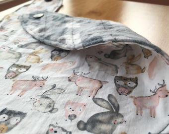 Animal bib / forest creatures dribble bib / bandana bib / owl rabbit moose bear