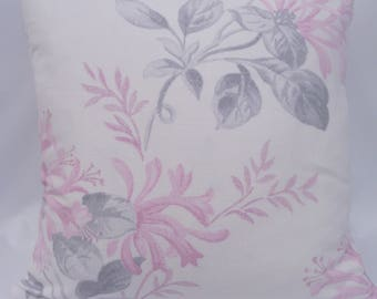 "Hand made Laura Ashley cushion, 16"" cushion, Floral cushion, Cyclamen Pink and Grey cushion, Zipped cushion. Back Laura Ashley Austen"