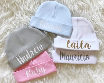 Baby beanie with name / Personalized Newborn baby beanie / name cap / hospital hat / hospital cap / new baby gift / name hat / custom name