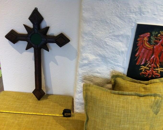 Antique Wood Carved Cross Folk Tramp art hand carved