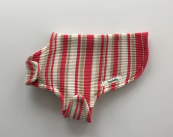 Size S Upcycled Dog Sweater in salmon and tan stripes