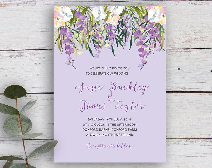 Featured listing image: FLORAL CASCADE, DIY Printable Invitation Template, Watercolour Florals & Foliage, Lilac