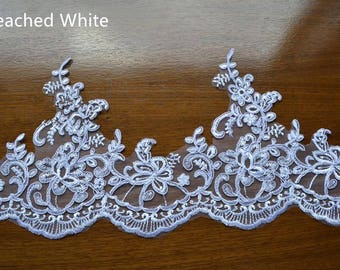 Bleached White Trim Lace, Lace Trim for Bridal Veil, Wedding Lace   Trim,7.87 Inches Wide 1.09 Yards/ Craft Supplies, WL798